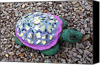 Beaches Ceramics Canvas Prints - Mosaic Turtle Canvas Print by Jamie Frier