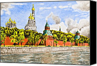 City Drawings Canvas Prints - Moscow River Canvas Print by Svetlana Sewell