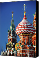 Cathedral Canvas Prints - Moscow, Spasskaya Tower And St. Basil Cathedral Canvas Print by Vladimir Zakharov