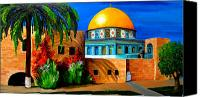 Architecture Painting Canvas Prints - Mosque - Dome of the rock Canvas Print by Patricia Awapara