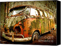 Deluxe Canvas Prints - Moss Covered 23 Window Bus Canvas Print by Michael David Sorensen