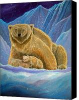 Polar Bear Canvas Prints - Mother and baby Polar bears Canvas Print by Nick Gustafson