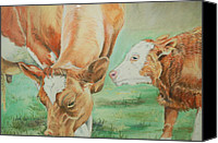 Farming Pastels Canvas Prints - Mother and baby Canvas Print by Teresa Smith