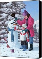 Boy Room Art Canvas Prints - Mother And Child Building Snowman Canvas Print by Martin Davey