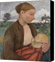 Suckling Canvas Prints - Mother and Child Canvas Print by Paula Modersohn Becker