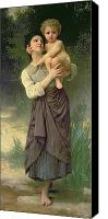 Bouguereau; William-adolphe (1825-1905) Canvas Prints - Mother and Child Canvas Print by William Adolphe Bouguereau