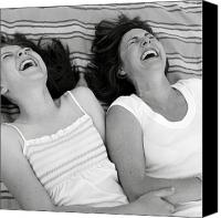 Caucasian Appearance Canvas Prints - Mother And Daughter Laughing Canvas Print by Michelle Quance