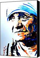 Blue Flowers Painting Canvas Prints - Mother Teresa Canvas Print by Steven Ponsford