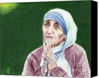 Leader Drawings Canvas Prints - Mother Teresa Canvas Print by Yoshiko Mishina