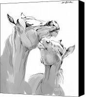 Horse Drawing Canvas Prints - Motherhood Canvas Print by Angel  Tarantella