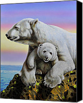 Polar Bear Canvas Prints - Motherhood Canvas Print by Jurek Zamoyski