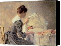 Sat Canvas Prints - Motherhood Canvas Print by Louis Emile Adan