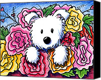 Westie Canvas Prints - Mothers Day Bouquet Canvas Print by Kim Niles