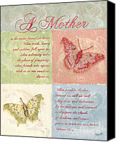 Cream Canvas Prints - Mothers Day Butterfly card Canvas Print by Debbie DeWitt