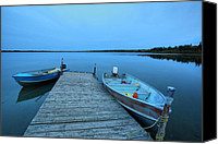 Motor Boats Canvas Prints - Motorboats at dock at Mustus Lake in Meadow Lake Park Canvas Print by Mark Duffy