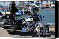 Yachts Canvas Prints - Motorcycle Police At The San Francisco Marina - 5D18266 Canvas Print by Wingsdomain Art and Photography
