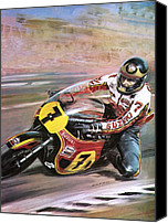 Spectators Canvas Prints - Motorcycle racing Canvas Print by Graham Coton