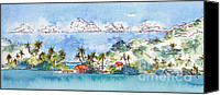 Saskatchewan Canvas Prints - Motu Toopua Bora Bora Canvas Print by Pat Katz