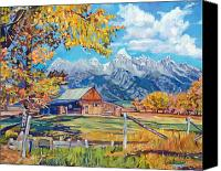 Mormon Painting Canvas Prints - Moultons Barn Grand Tetons Canvas Print by David Lloyd Glover