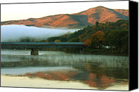 Windsor Canvas Prints - Mount Ascutney and Windsor Cornish Bridge Sunrise Fog Canvas Print by John Burk