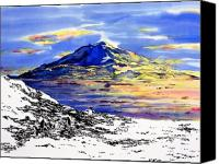 Winter-landscape Tapestries - Textiles Canvas Prints - Mount Erebus Antarctica Canvas Print by Carolyn Doe