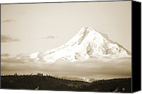 Snow Capped Canvas Prints - Mount Hood Snow Canvas Print by Andrea Hazel Ihlefeld