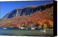 Vermont Autumn Foliage Canvas Prints - Mount Pisgah Willoughby Lake Canvas Print by John Burk