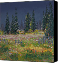 Trees Pastels Canvas Prints - Mount Rainier Meadow Canvas Print by David Patterson