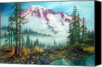 Alpine Mixed Media Canvas Prints - Mount Rainier Canvas Print by Sherry Shipley