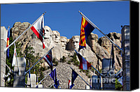 Mountain Sculpture Photo Canvas Prints - Mount Rushmore and Flags Canvas Print by Teresa Zieba