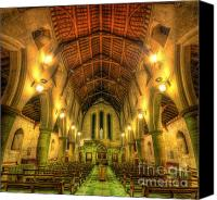 Lights Framed Prints Canvas Prints - Mount St Bernard Abbey - The Nave Canvas Print by Yhun Suarez