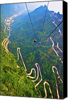 Cable Canvas Prints - Mount Tianmen Canvas Print by Feng Wei Photography