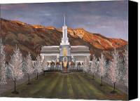 Mormon Painting Canvas Prints - Mount Timpanogos Temple Canvas Print by Jeff Brimley