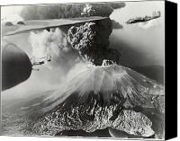 Aircraft Photo Canvas Prints - Mount Vesuvius Coughs Up Ash And Smoke Canvas Print by Us Army Air Forces Official