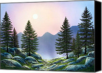 Moonlit Painting Canvas Prints - Mountain Firs Canvas Print by Frank Wilson