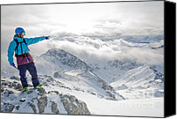 Mountain Canvas Prints - MOUNTAIN GUIDE snowboard instructor pointing out peaks in Davos Canvas Print by Andy Smy