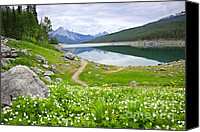 Outdoor Canvas Prints - Mountain lake in Jasper National Park Canada Canvas Print by Elena Elisseeva