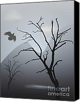 White Canvas Prints - Mountain Landscape With Bird Canvas Print by Dave Gordon