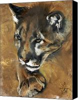 Lion Painting Canvas Prints - Mountain Lion - Guardian of the North Canvas Print by J W Baker