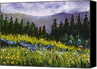 Landscape Pastels Canvas Prints - Mountain Meadow Canvas Print by David Patterson