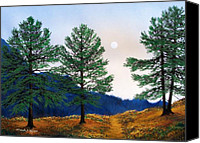 Moonlit Painting Canvas Prints - Mountain Pines Canvas Print by Frank Wilson