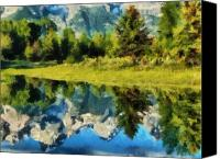 Forest Pastels Canvas Prints - Mountain Reflections Canvas Print by Russ Harris