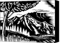 Nature Artwork Canvas Prints - Mountain scene woodcut Canvas Print by Aloysius Patrimonio