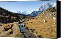 Nepal Canvas Prints - Mountain Stream In The Himalayas Canvas Print by Shanna Baker