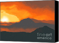 Volcano Canvas Prints - Mountain sunset Canvas Print by Pixel  Chimp