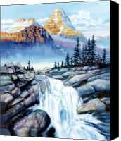 Mountain Canvas Prints - Mountain Waterfall Canvas Print by John Lautermilch