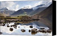 Snow Capped Canvas Prints - Mountains And Lake At Lake District Canvas Print by John Short