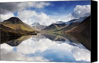 Mountain Scenes Canvas Prints - Mountains And Lake, Lake District Canvas Print by John Short