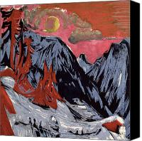 Snowy Night Painting Canvas Prints - Mountains in Winter Canvas Print by Ernst Ludwig Kirchner
