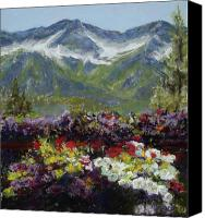 Mountains Pastels Canvas Prints - Mountains of Flowers Canvas Print by Mary Giacomini